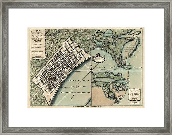 Antique New Orleans Map.Antique Map Of New Orleans By Thomas Jefferys 1759 Framed Print
