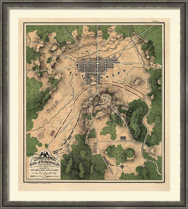 Antique Map of the Battle of Gettysburg by William H. Willcox - 1863 by Blue Monocle