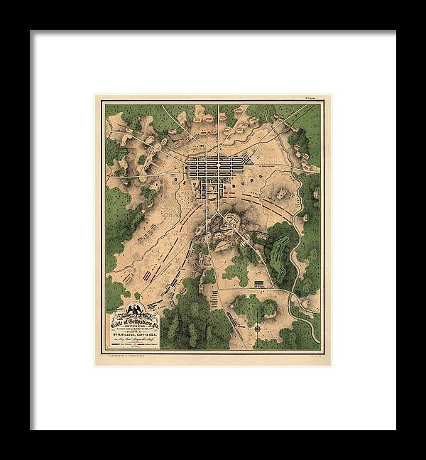 Gettysburg Framed Print featuring the drawing Antique Map of the Battle of Gettysburg by William H. Willcox - 1863 by Blue Monocle
