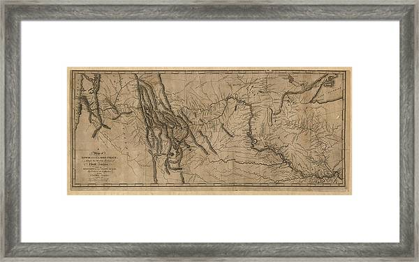 graphic regarding Lewis and Clark Printable Map referred to as Antique Map Of The Lewis And Clark Expedition Through Samuel Lewis - 1814 Framed Print