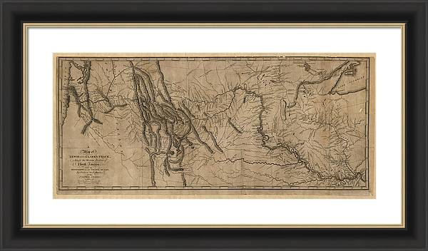 Antique Map of the Lewis and Clark Expedition by Samuel Lewis - 1814 by Blue Monocle
