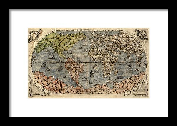 Antique map of the world by paolo forlani 1565 framed print by map framed print featuring the drawing antique map of the world by paolo forlani 1565 gumiabroncs Gallery