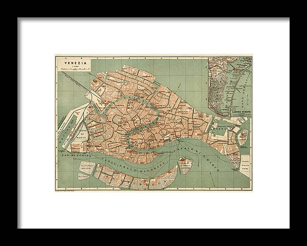 Antique Map Of Venice Italy By Wagner And Debes - Circa ...