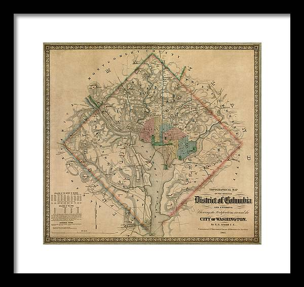 Antique Map of Washington DC by Colton and Co - 1862 by Blue Monocle