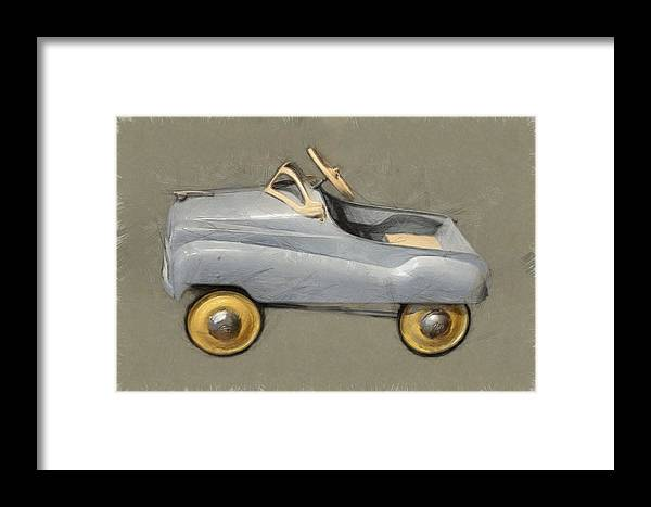 Steering Wheel Framed Print featuring the photograph Antique Pedal Car Ll by Michelle Calkins