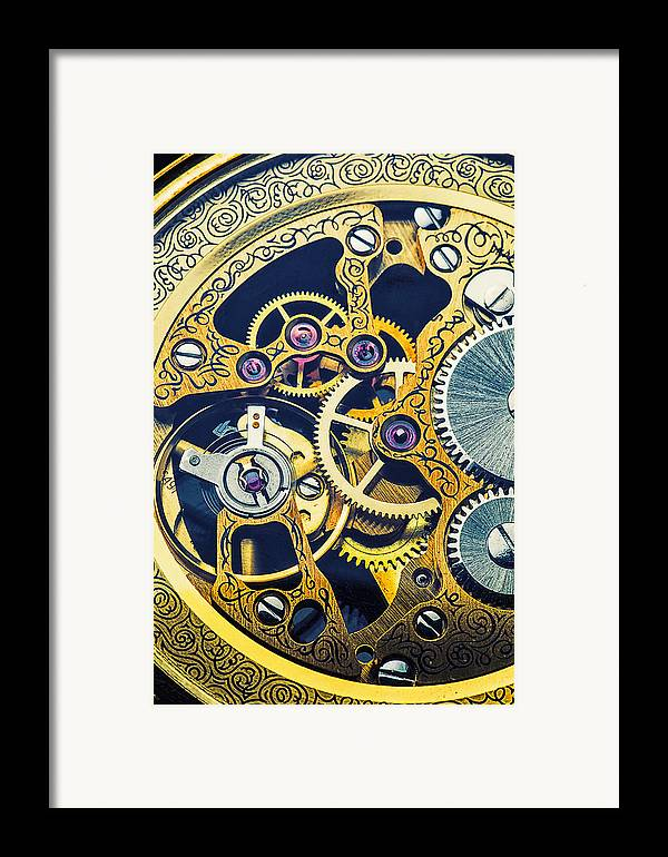 Time Framed Print featuring the photograph Antique Pocket Watch Gears by Garry Gay