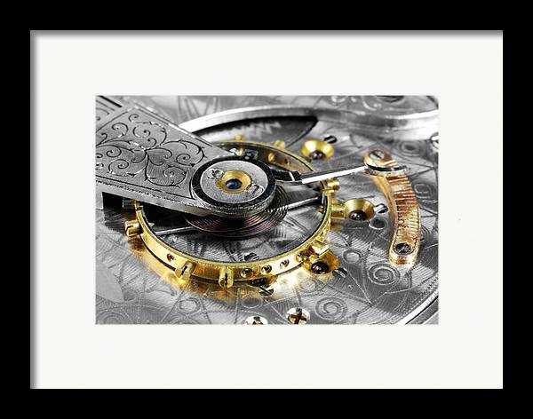 Wheel Framed Print featuring the photograph Antique Pocketwatch Balance Wheel by Jim Hughes