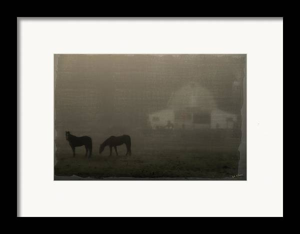 Special Effect Framed Print featuring the photograph Antique Scene Of Horses In A Fog by Mick Anderson