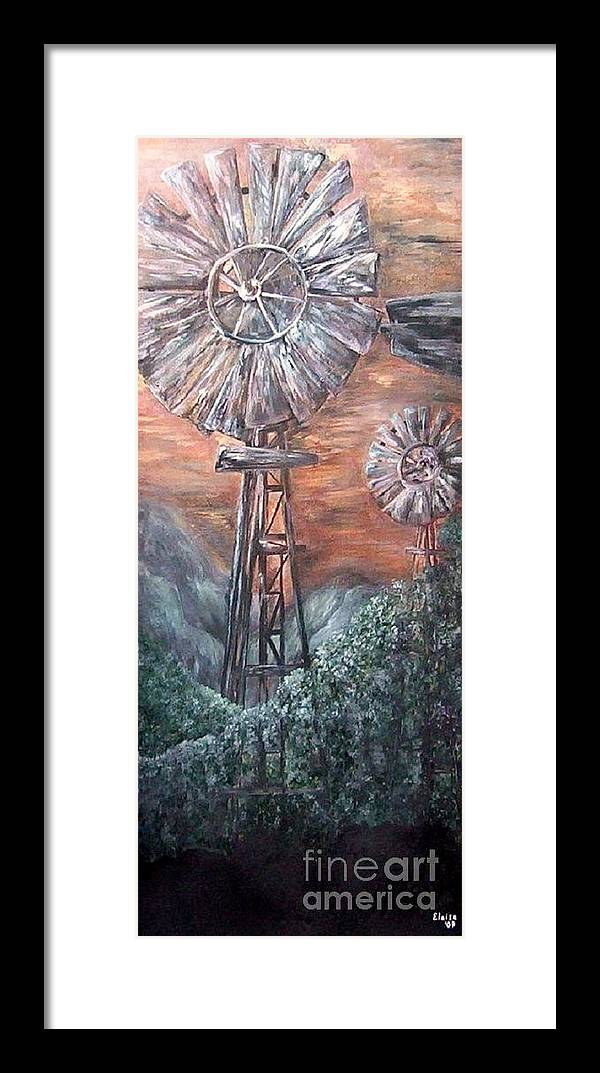 Windmill Framed Print featuring the painting Antique Windmills At Dusk by Eloise Schneider Mote