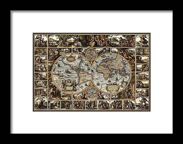 Antique World Map 1660 1670 1680 1690 1700 Decorative Ornate Drawing Pictures Landscapes Landscape Image Images Latitude Latitudes Latitudinal Longitude Longitudes Longitudinal Navigate Navigation Navigational Nautical Mile Tropic Of Cancer Tropic Of Capricorn Arctic Circle Antarctic Seven Continents Five Oceans Continent Ocean North America South America Africa Europe Asia Australia Antarctica Atlantic Pacific Indian Antarctic Artic Cartographer Cartography Cartographic Whaling Fishing  Framed Print featuring the drawing Antique World Map Circa 1670 II by L Brown
