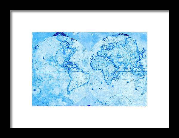 Exploration Framed Print featuring the photograph Antique World Map by Rob Atkins