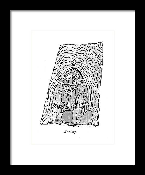 118787 Wst William Steig Anxiety  (eight Drawings Depicting Exhaustion Framed Print featuring the drawing Anxiety by William Steig