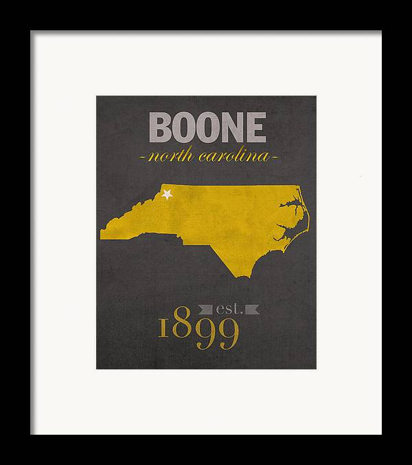 Appalachian State University Framed Print featuring the mixed media Appalachian State University Mountaineers Boone Nc College Town State Map Poster Series No 010 by Design Turnpike