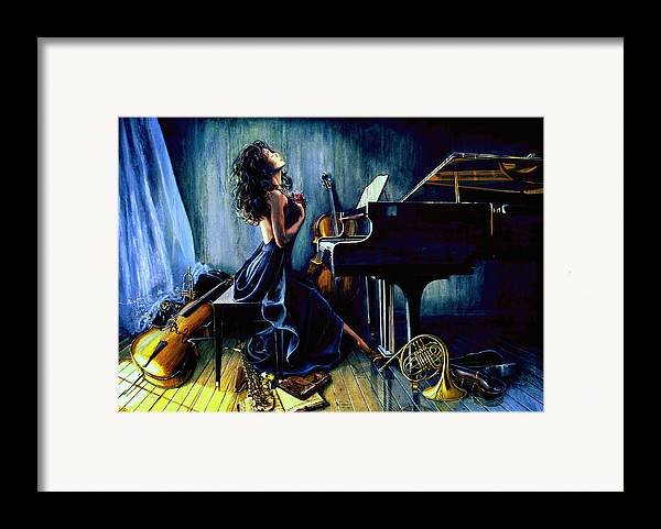 Musical Instrument Still Life Framed Print featuring the painting Appassionato by Hanne Lore Koehler