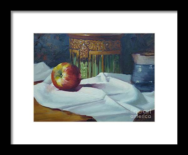 Still Life Framed Print featuring the painting Apple And Pottery by Bill Dean