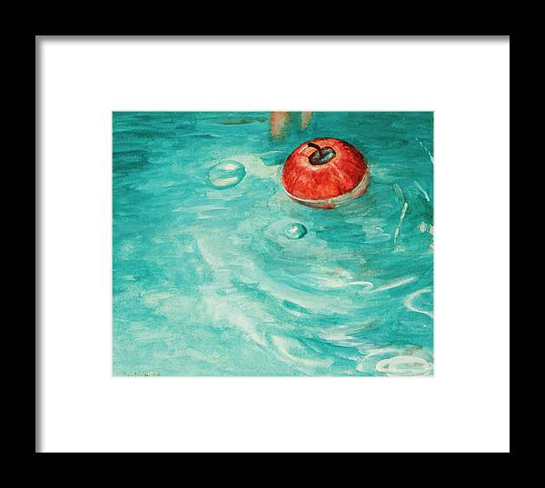 Apple Framed Print featuring the painting Apple In A Tub by Kathryn Donatelli