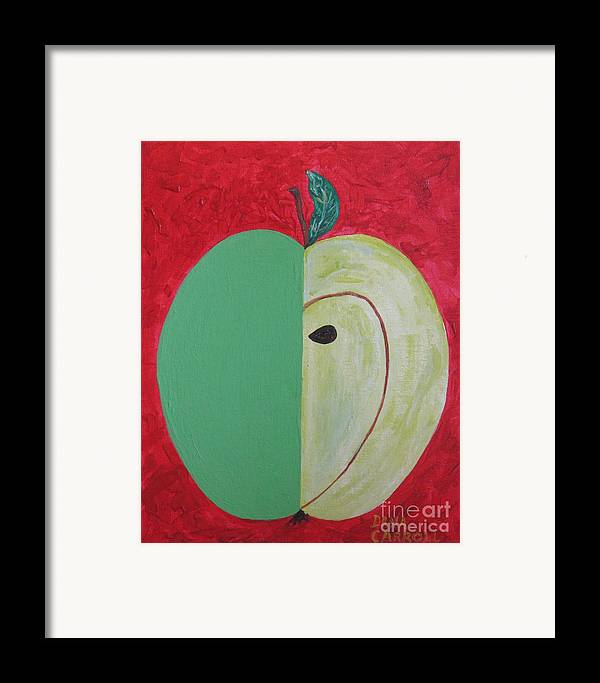 Apple Paintings Framed Print featuring the painting Apple In Two Greens 02 by Dana Carroll