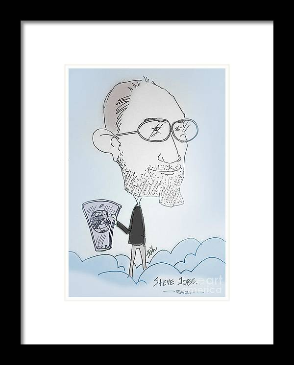 Caricature Framed Print featuring the mixed media Apple Jobs by Razi P