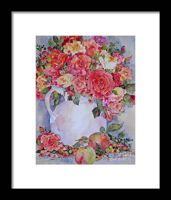 Roses Framed Print featuring the painting Apples And Roses by Sherri Crabtree