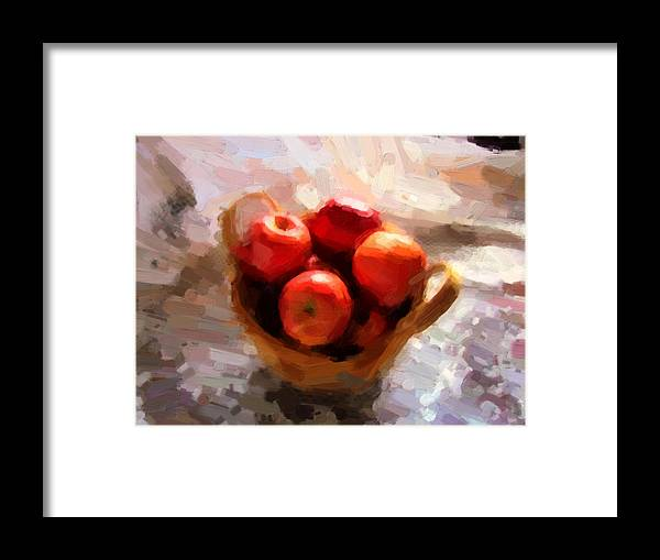 Apples Framed Print featuring the photograph Apples On The Table by Shannon Story
