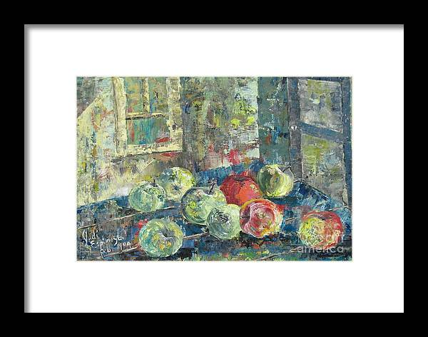 Apples Framed Print featuring the painting Apples - Sold by Judith Espinoza