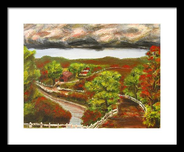 Nature Framed Print featuring the painting Approaching Storm by Michael Anthony Edwards