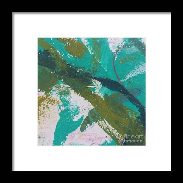Aqua Framed Print featuring the painting Aqua And Green by Robin Maria Pedrero