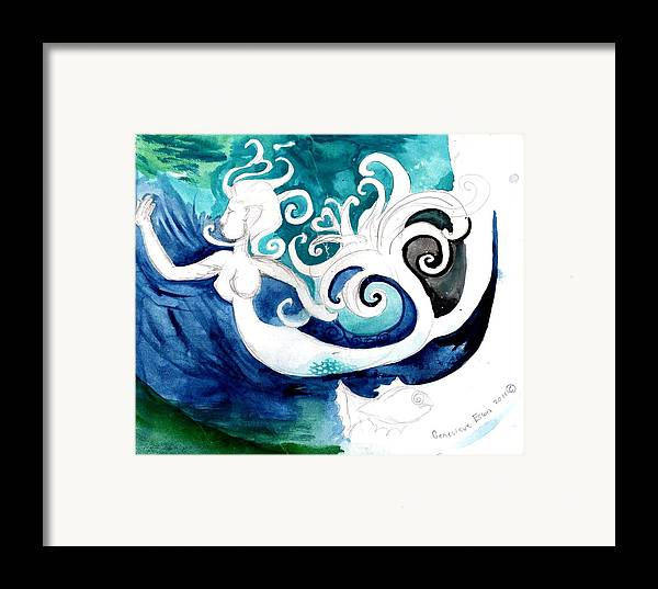 Mermaid Framed Print featuring the painting Aqua Mermaid by Genevieve Esson