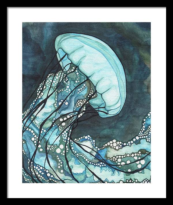 Jellyfish Framed Print featuring the painting Aqua Sea Nettle by Tamara Phillips