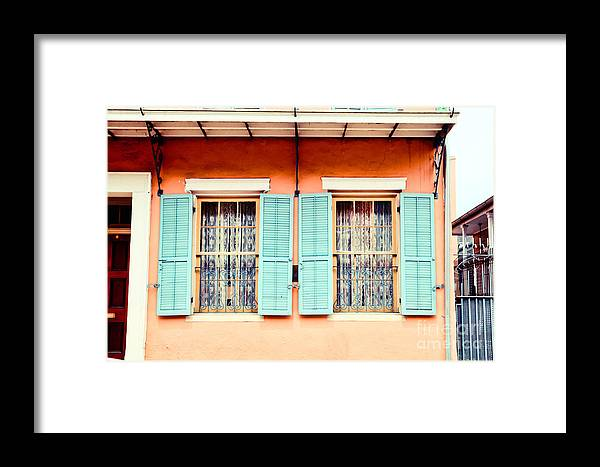 New Orleans Framed Print featuring the photograph Aqua Shutters by Sylvia Cook