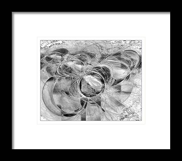 Abstract Framed Print featuring the digital art Arabesque Design In Black And White by Leona Arsenault
