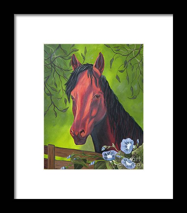 Horse Framed Print featuring the painting Arabian Horse by Terri Mills