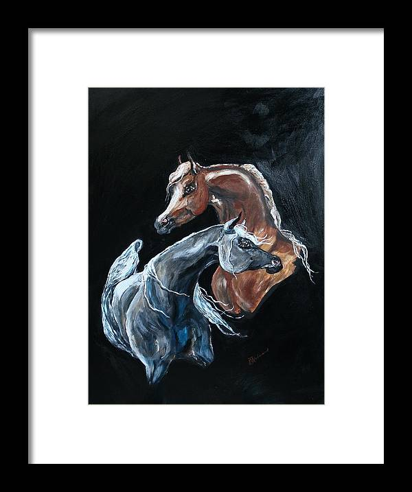 Acrylic Framed Print featuring the painting Arabians by Bj Redmond