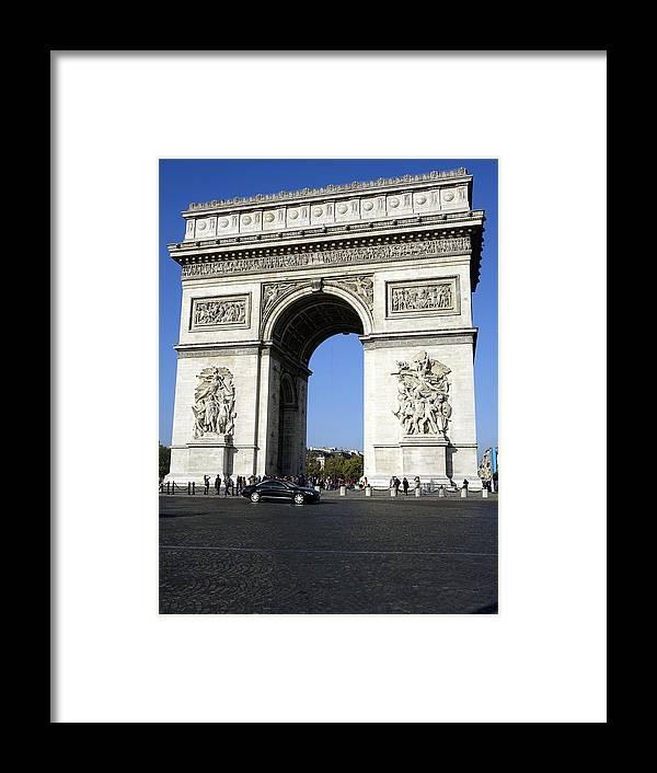 Paris Framed Print featuring the photograph Arc De Triomphe In Paris France by Richard Rosenshein