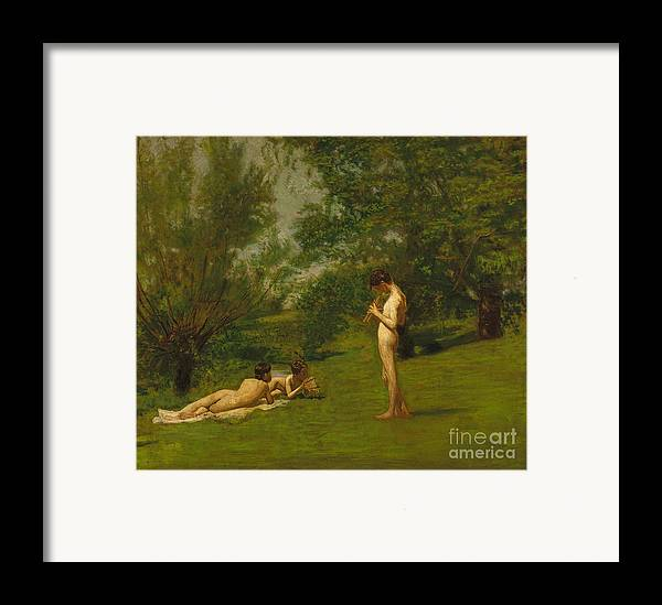 Outdoors; Garden; Nude; Boys; Relaxing; Rural; Music; Pan Pipes; Rest; Summer; Child; Boy; Classical; Mythology; Resting; Leisure; Male Framed Print featuring the painting Arcadia Circa 1883 by Thomas Cowperthwait Eakins