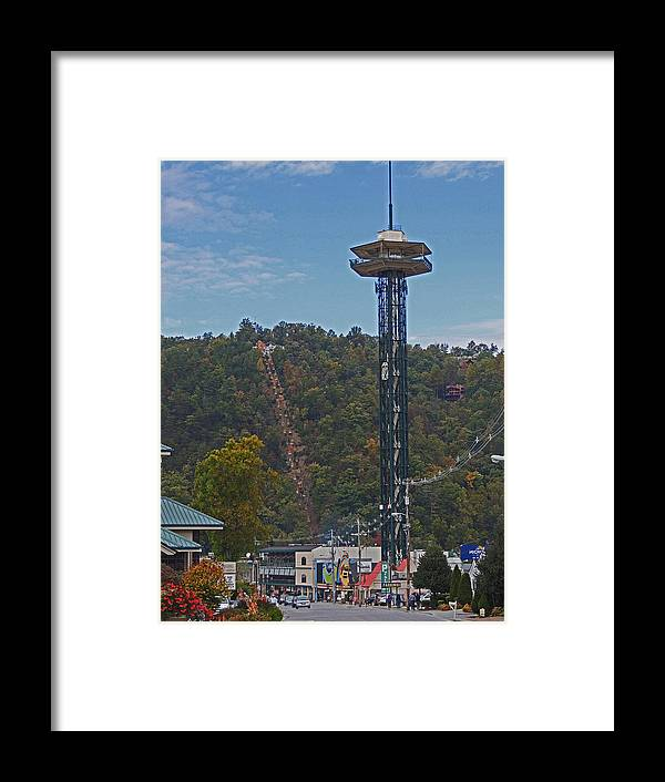 Photographic Print Framed Print featuring the photograph Arcadia Space Needle In Gatlinburg Tennessee by Marian Bell