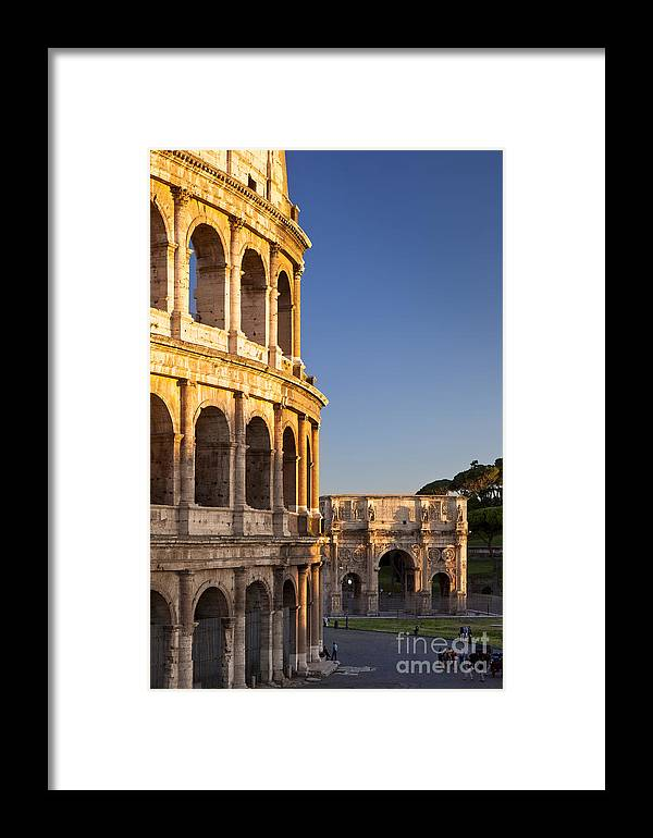 Roman Framed Print featuring the photograph Arch And Coliseum by Brian Jannsen