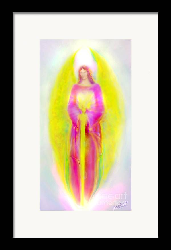 Archangel Michael Painting Framed Print featuring the painting Archangel Michael In Quiet Contemplation by Glenyss Bourne