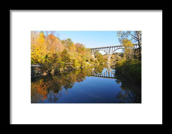Valley Framed Print featuring the photograph Arched Bridge Over Blue Water by Kenneth Sponsler