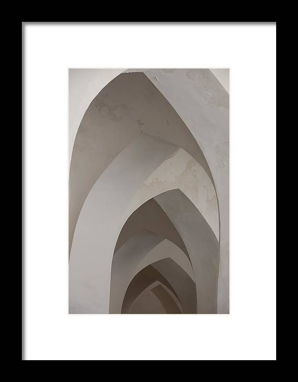 Architecture Framed Print featuring the photograph Arches In White by Kendell Timmers