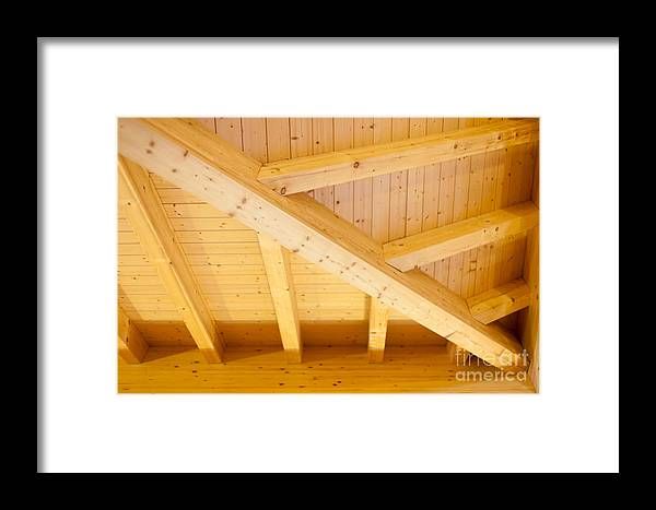 Angled Framed Print featuring the photograph Architectural Detail Of An Indoor Wooden Ceiling by Stephan Pietzko
