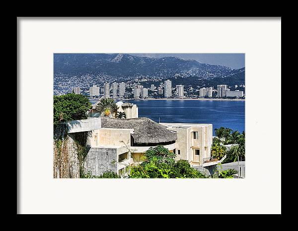 Travel Framed Print featuring the photograph Architecture With Ith Acapulco Skyline by Linda Phelps