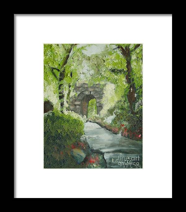 New York Framed Print featuring the painting Archway In Central Park by Laurie Morgan