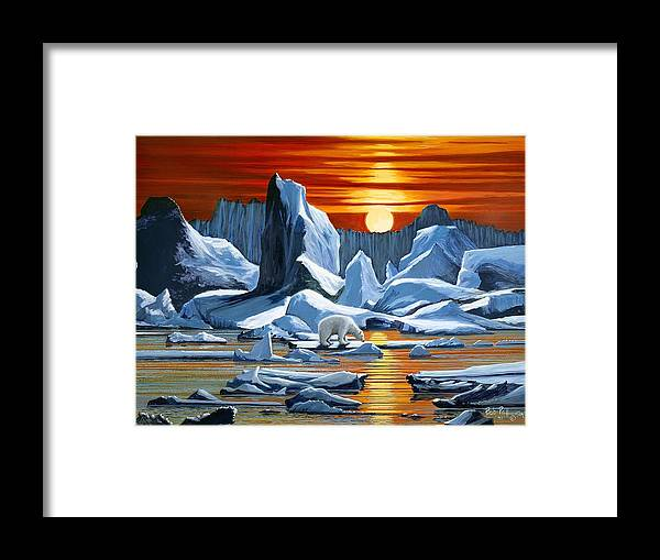 Arctic Framed Print featuring the painting Arctic Sunset Polar Bear by Bob Patterson