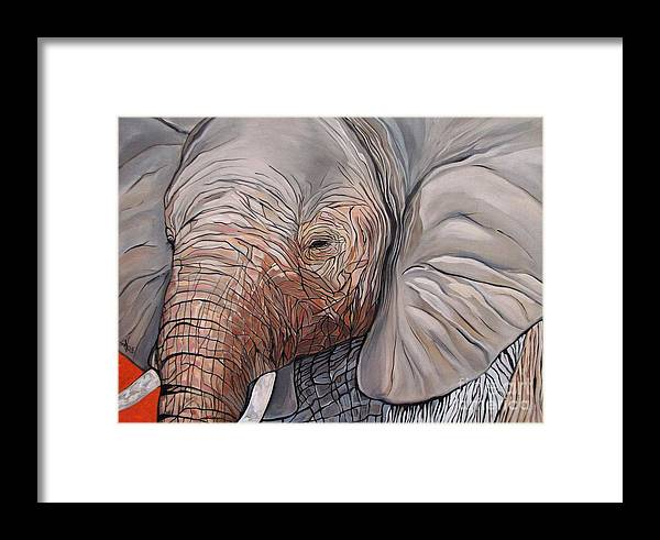 Elephant Bull Painting Framed Print featuring the painting Are You There by Aimee Vance