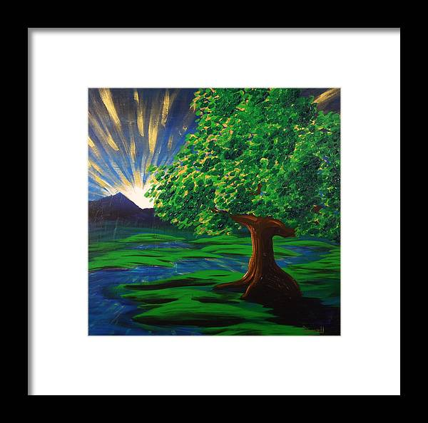 Tree Framed Print featuring the painting Arise Shine by Gary Rowell