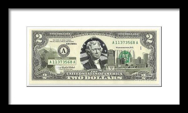 Arizona Two Dollar Bill Framed Print by Charles Robinson