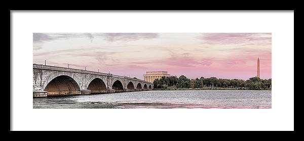 Photography Framed Print featuring the photograph Arlington Memorial Bridge With Lincoln by Panoramic Images