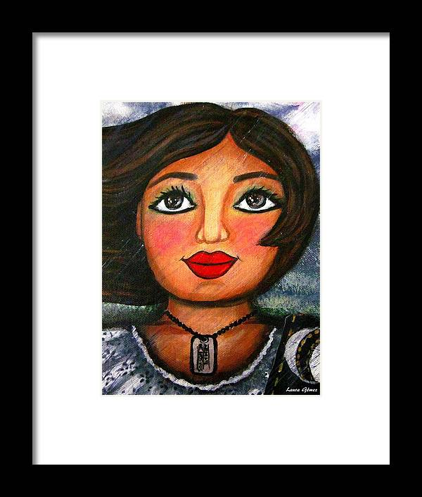Mexican Girl Framed Print featuring the painting Armate De Huevos En Tiempos Tormentosos - Arm Yourself With Balls In Stormy Days by Laura Gomez