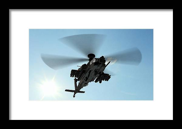 Wind Framed Print featuring the photograph Armed Longbow Apache Helicopter In by Bestgreenscreen